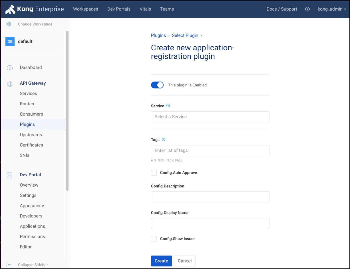 Create application-registration plugin
