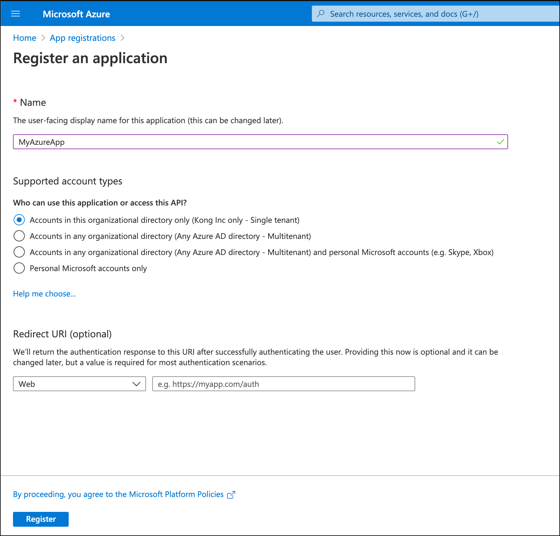 Azure App Registrations