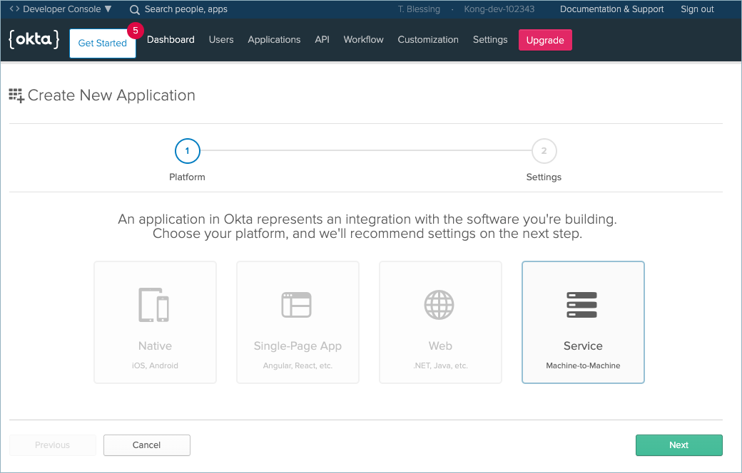 Okta Create New Application