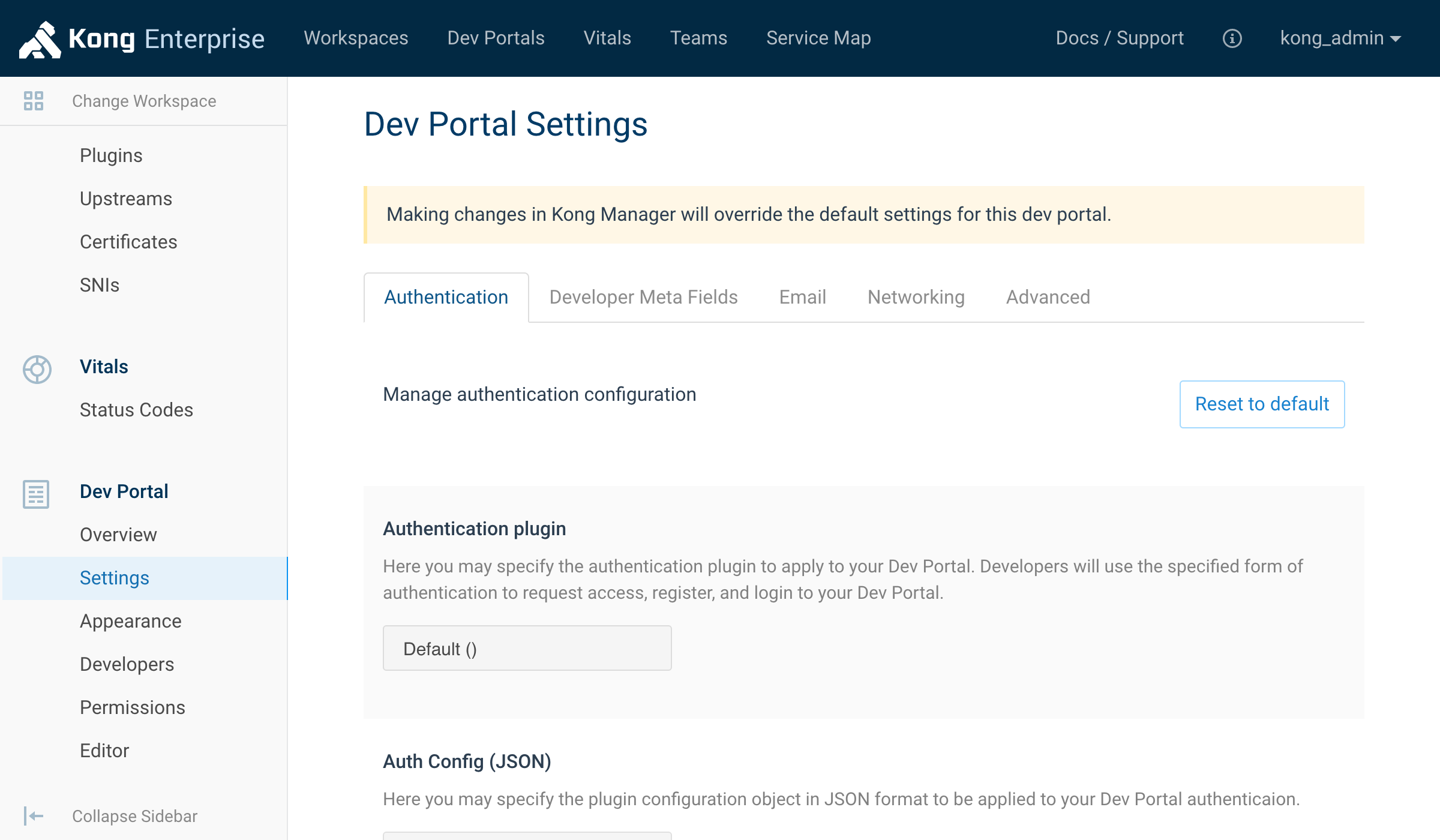 Dev Portal Settings